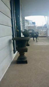 2 Black Wrought Iron Planting Urns