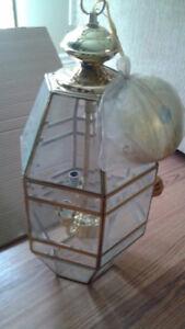 Three-Light Brass Hall/Foyer Fixture, Clear Beveled Glass...$50