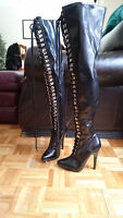 Dominatrix Style Thigh High Boots- Size 6