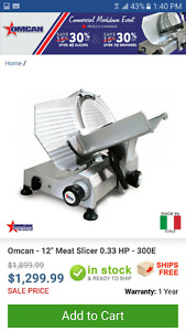 Omcan 12' meat slicer used only couple times
