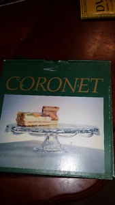 Boxed coronet 12 inch 24% leadcrystal handcut cake plate