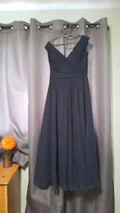 Size 14 Navy off shoulder gather gown