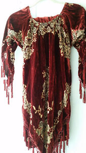 Red Velvet/Silk Beaded Tunic
