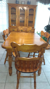 Table set and buffet and hutch
