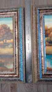 "Two vibrant 16.5"" x 16.5"" scenic pictures w/ornate silver frames London Ontario image 5"