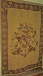 Vintage tapestry from Europe Sola Virtus Invicta
