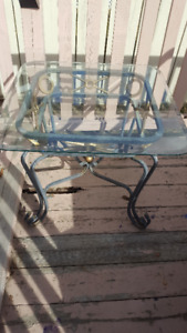 Outdoor Glass and Metal Table