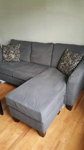 Grey couch chaise style