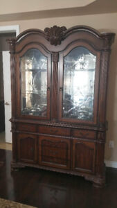 SOLID WOOD HUTCH AND BUFFET SET