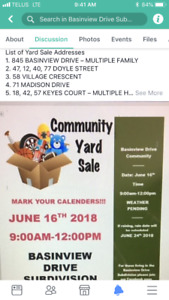 Community Yard Sale in Basinview Drive subdivision.  (Bedford)