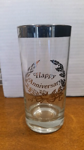 Happy Anniversary - Silver Graphics TUMBLER glasses - Set of 4