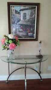 Table console + cadre + lampe