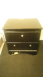 Black wooden 2 drawer chest