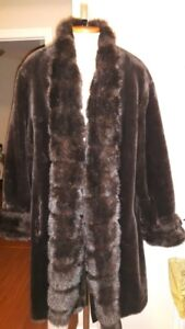 Vintage J Percy for Marvin Richards FAUX FUR swing coat XL
