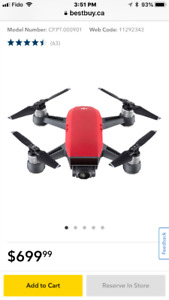 DJI Spark Quadcopter Drone Fly More Combo - Ready-to-Fly - Red