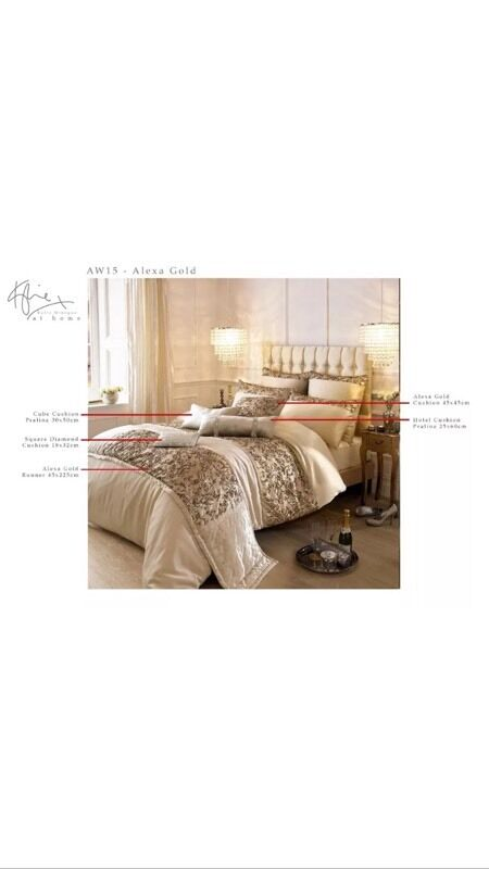 New Kylie Alexia Gold Cushions X 2 And Bed Runner