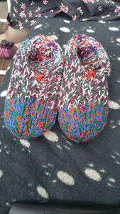 Hand knitted womens colorful slippers