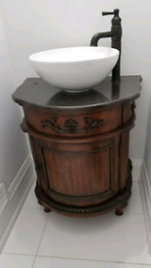 """24"""" Solid wood vanity with granite countertop , sink and faucet."""
