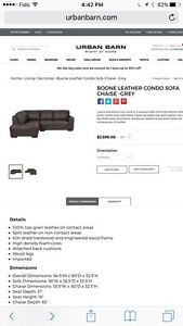 Urban Barn Boone Leather Sectional dark brown