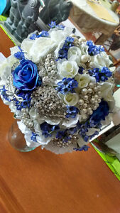 Beautiful wedding bouquet with brooches