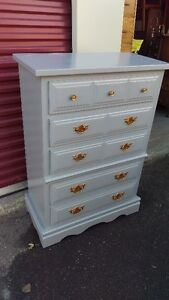Grey Solid Wood 5-Drawer Dresser