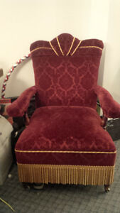 Antique Velvet Gentleman's Chair Peterborough Peterborough Area image 1