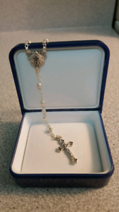 "Beautiful 16"" Silver Rosary. Perfect Baptism, 1st Communion Gift"