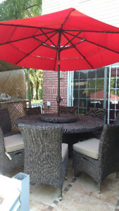 Table and chairs with umbrella in very good condition