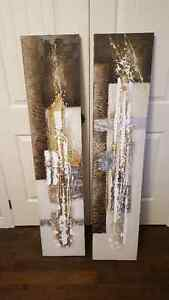 Set of 2 Abstract Painted Canvases - Brown, Gold and White St. John's Newfoundland image 1