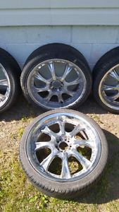22inch Chrome rims with okay thread tires*best offer**