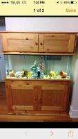 55 gallons aquarium with oak stand