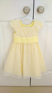 Spring Dress, Yellow and White Daisy Print, Toddler Girl, 3T