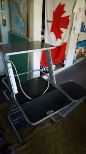 Metal Wheeled Computer Desk + Power Bar