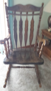 High Back Solid Wood Rocking Chair