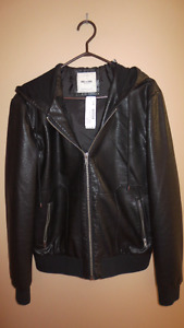 Men's Faux Leather Bomber Jacket