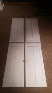 4 white window shutters- excellent shape just need a wash
