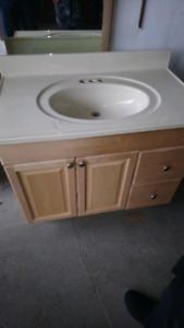 bathroom vanity with built in sink and 2nd countertop for vanily