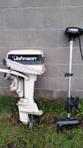 8hp johnson motor 1986....40 lbs thrust trolling motor and 12 fo