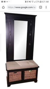 Crate and Barrel Bench Mirror and Coat Rack