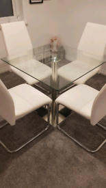Square Glass dining table and 4 white leather chairs