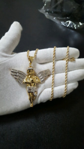 Large 10K Gold Angel + 10K Gold Rope Chain 3mm 22""