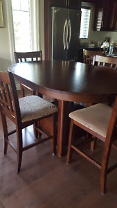 Counter Height Dining Table and 7 Counter Height Chairs
