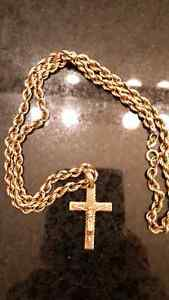 22 inch gold chain with cross