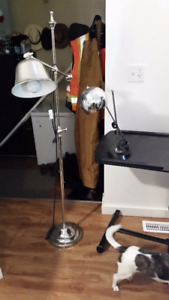 Adjustable floor lamp with desk lamp