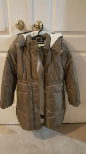 Girls winter puffer jacket with hood, size M