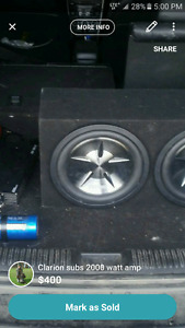 12 inch clarion subwoofers with 2000 watt amp