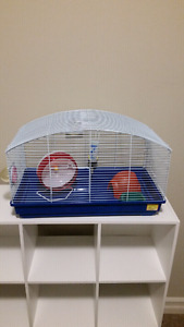 Blue deluxe hamster kit with cage wheel food dish house water +