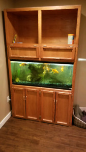 Fish tank and oak stand/cabinet for sale $500 obo
