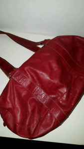 Red Leather Roots bag