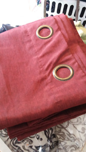 Deep red curtain panels (2)